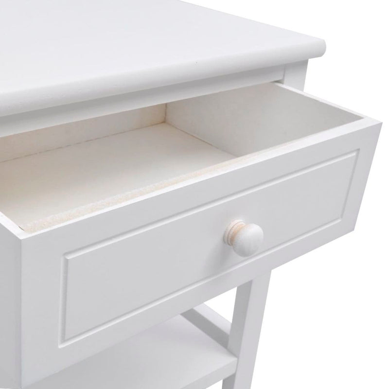 Bedside Cabinet Wood - White