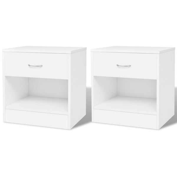 Bedside Cabinets With Drawer (2 Pcs) - White