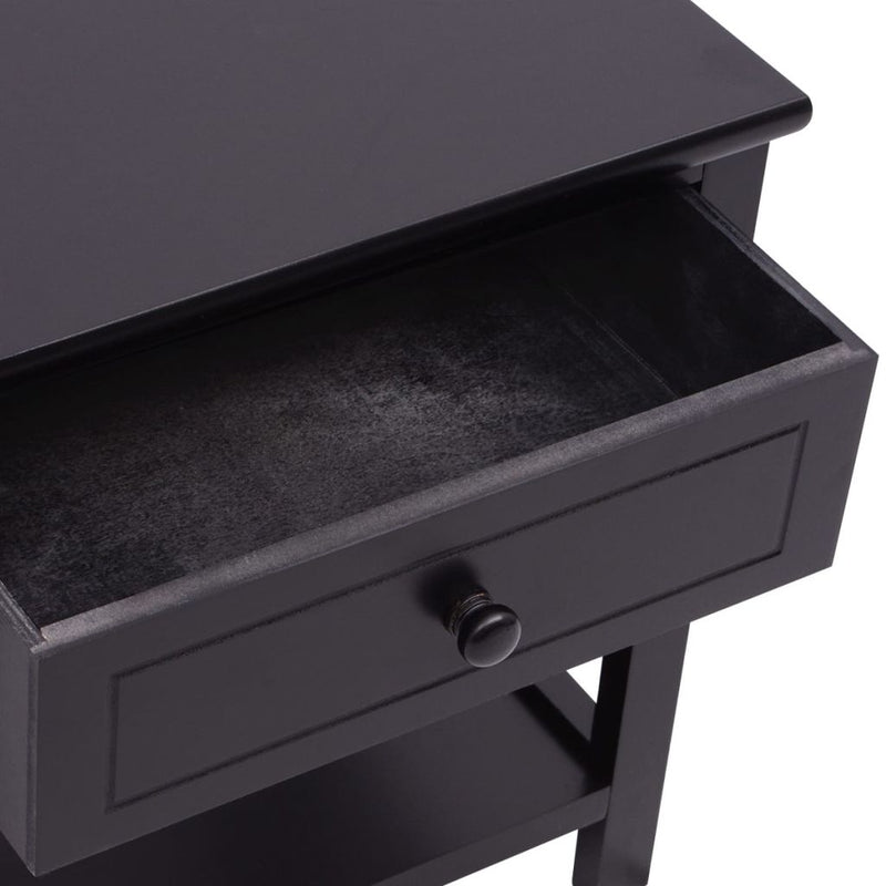 Bedside Cabinets Wood (2 Pcs) - Black