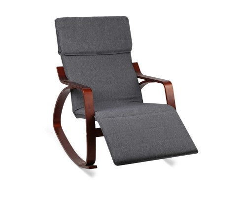 Birch Plywood Adjustable Rocking Lounge Arm Chair w/ Fabric Cushion