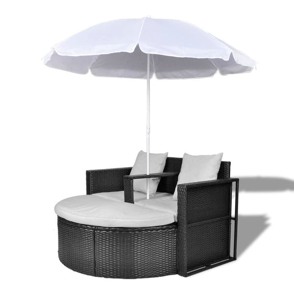 Black Garden Poly Rattan Lounge Set with Parasol Outdoor