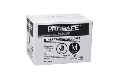 Black Nitrile (Pro-Safe N-TEK) Gloves - TGA Approved