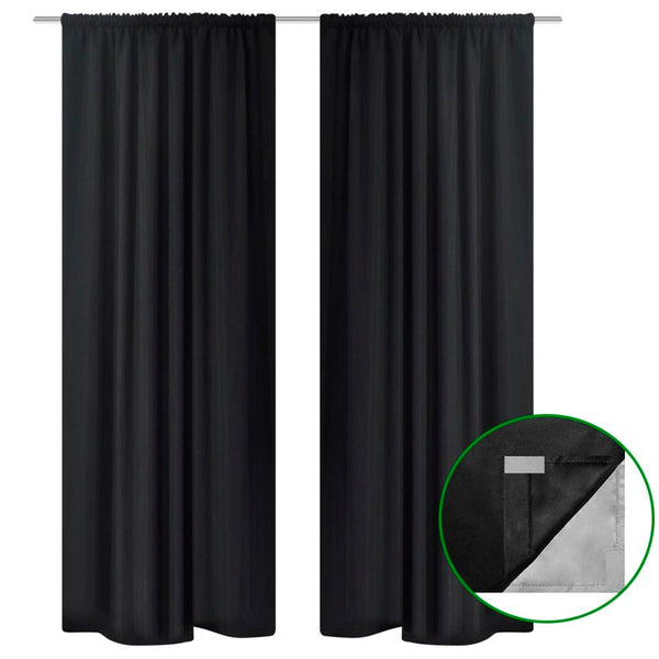Blackout Curtains Double Layer 140 x 245 Cm (2 Pcs) - Black