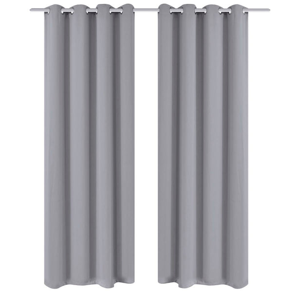 Blackout Curtains with Metal Rings 135 x 245 Cm (2 Pcs) - Grey