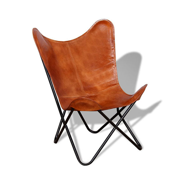 Brown Butterfly Chair Real Leather