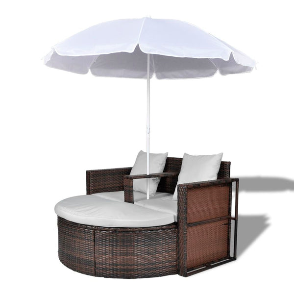 Brown Garden Poly Rattan Lounge Set with Parasol Outdoor