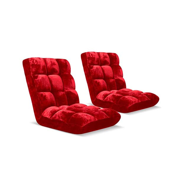 Soga Floor Recliner Folding Sofa Futon Couch Chair Cushion Red X2