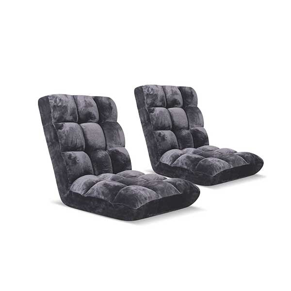 Soga Floor 2X Recliner Folding Sofa Futon Couch Chair Cushion Grey