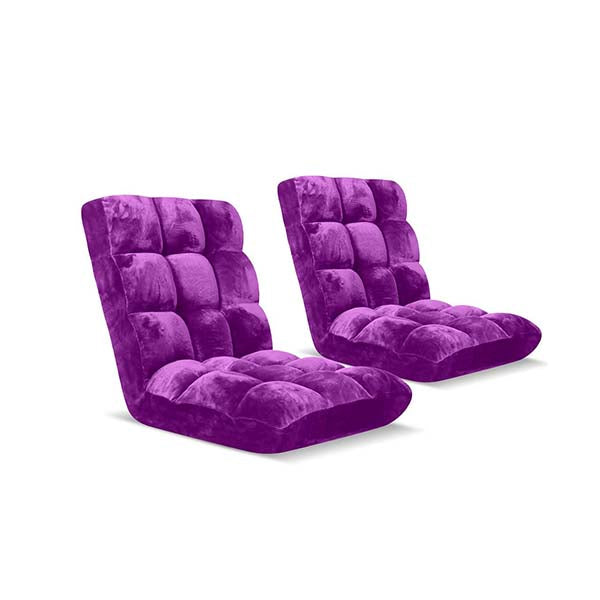 Soga Floor Recliner Folding Sofa Futon Couch Chair Cushion Purple X2