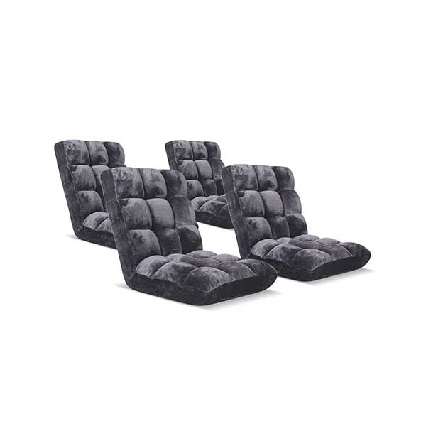 Soga Floor 4X Recliner Folding Sofa Futon Couch Chair Cushion Grey