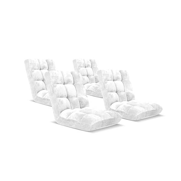 Soga Floor Recliner Folding Sofa Futon Couch Chair Cushion White X4