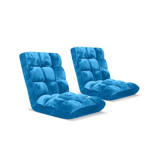 Soga Floor Recliner Folding Sofa Futon Couch Chair Cushion Blue X2