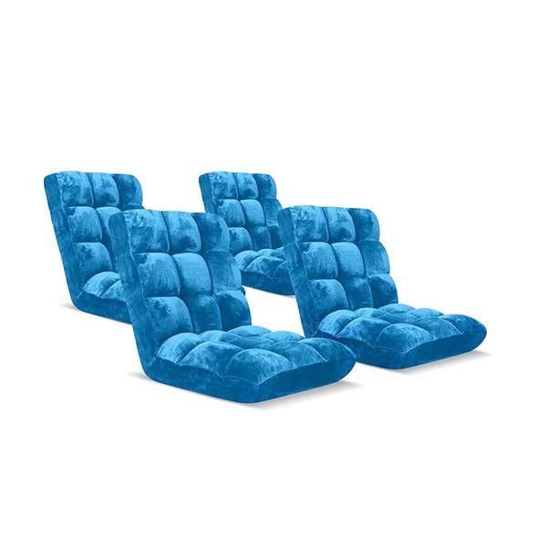 Soga Floor Recliner Folding Sofa Futon Couch Chair Cushion Blue X4