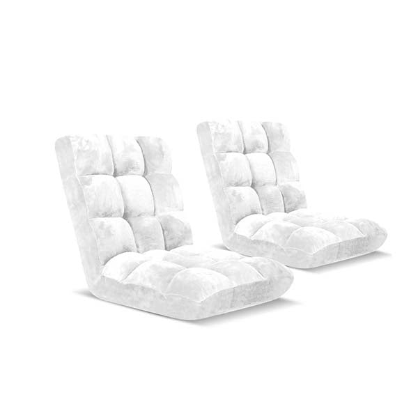 Soga Floor Recliner Folding Sofa Futon Couch Chair Cushion White X2