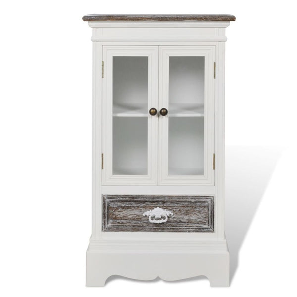 Cabinet 2 Doors 1 Drawer Wood - White