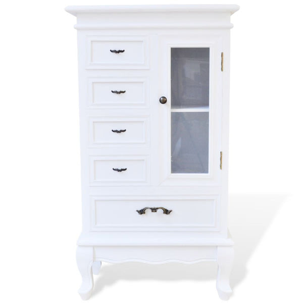 Cabinet With 5 Drawers 2 Shelves - White