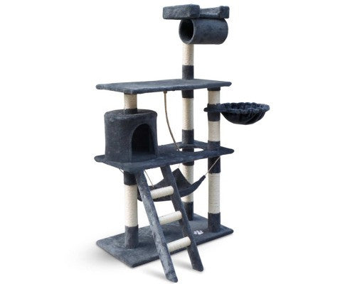 Cat Tree 141Cm Trees Scratching Post Tower Condo House Furniture Wood