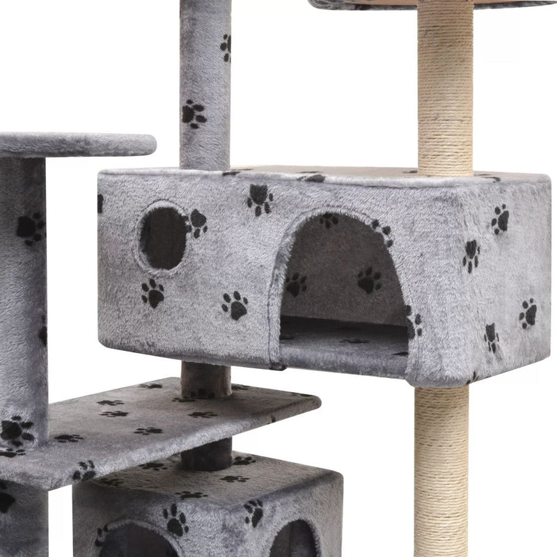 125 Cm Cat Tree With Sisal Scratching Posts Paw Prints - Grey