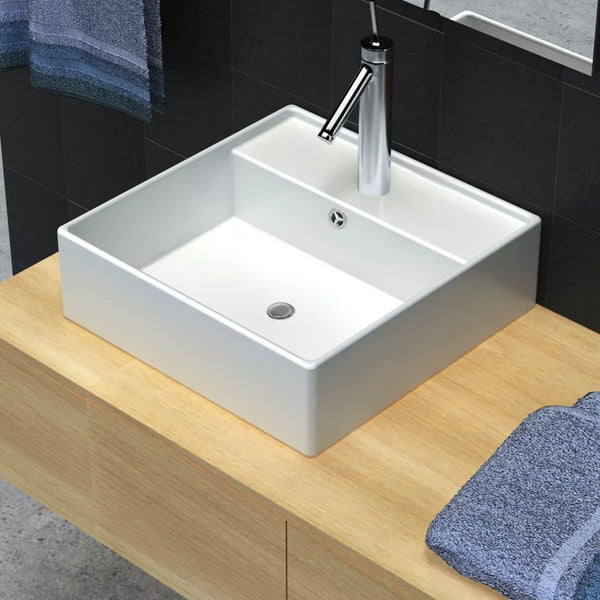 Ceramic Basin Square With Overflow And Faucet Hole 41 x 41 Cm