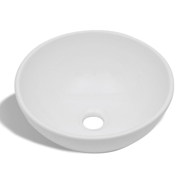 Ceramic Bathroom Sink Basin Round - White