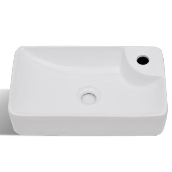 Ceramic Bathroom Sink Basin With Faucet Hole - White