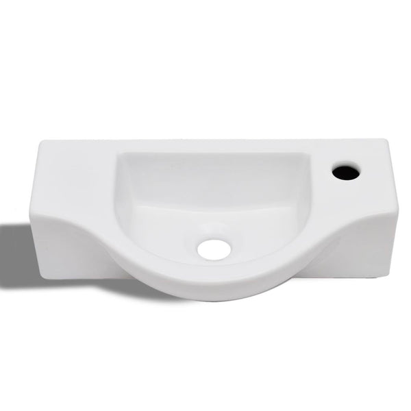Ceramic Bathroom Sink with Faucet Hole - White