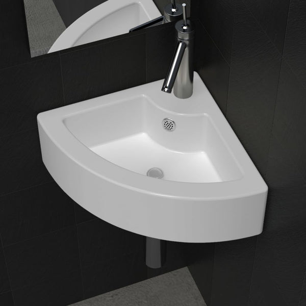 Ceramic Corner Bathroom Sink with Faucet & Overflow Hole - White