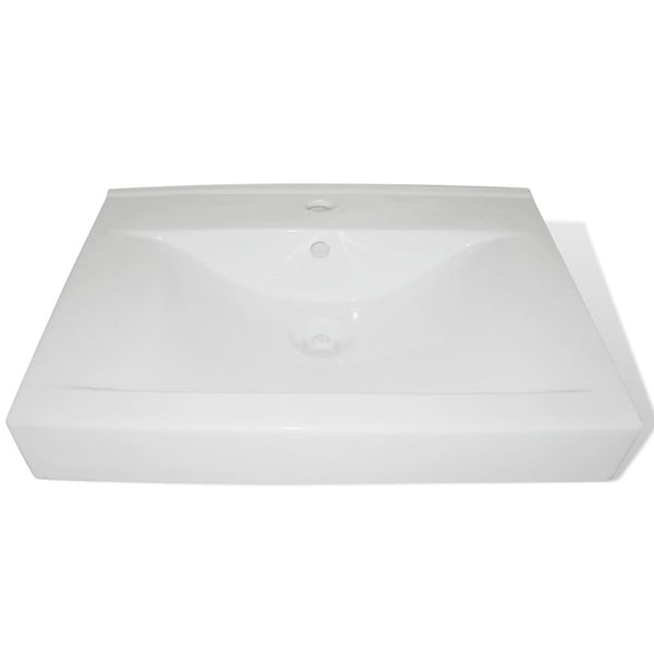 Ceramic Rectangular Basin with Faucet Hole - White