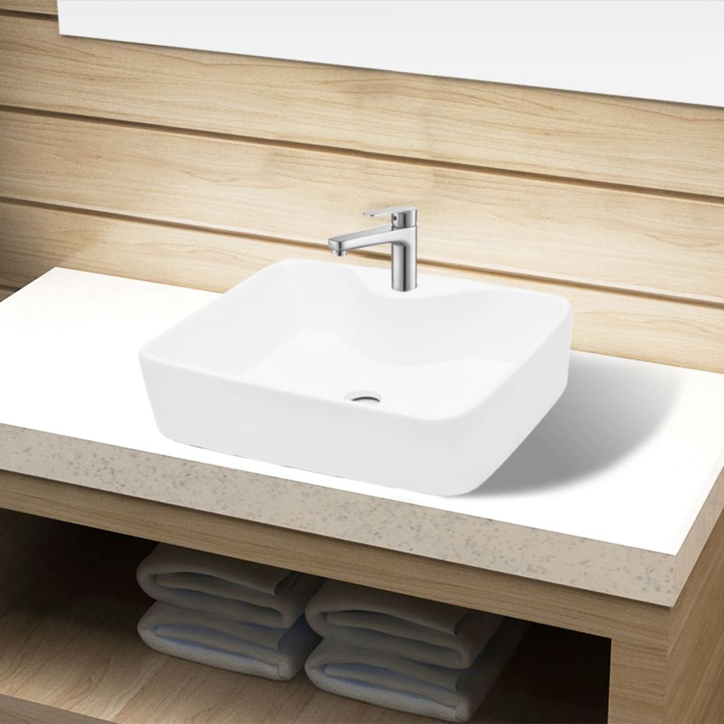 Ceramic Square Bathroom Sink with Faucet Hole - White