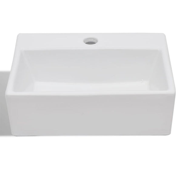 Ceramic Square Bathroom Sink with Faucet Hole 380x300x115mm - White