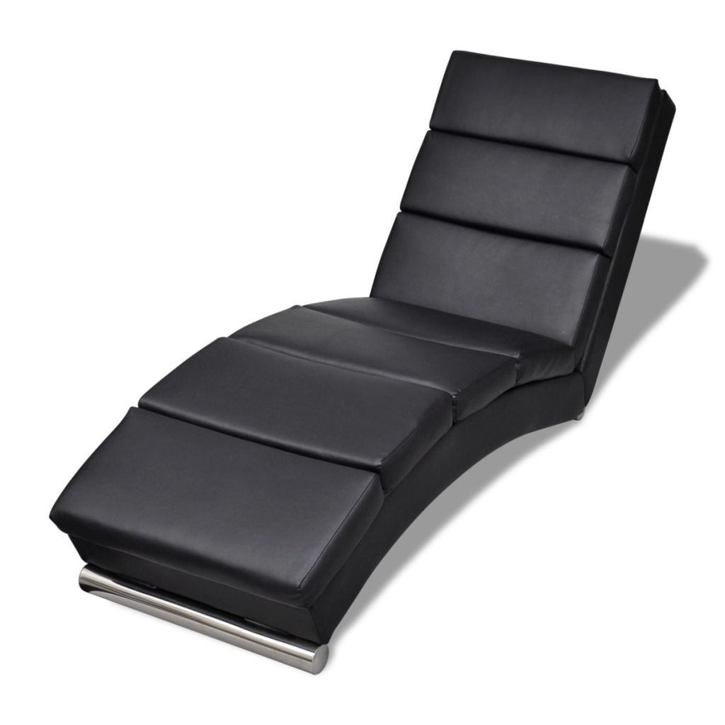 Chaise Lounge Artificial Leather - Black