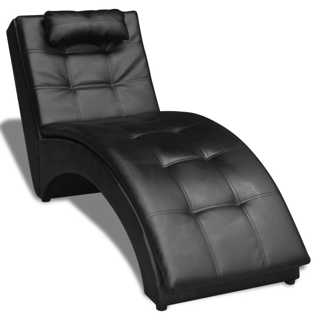 Chaise Lounge With Pillow Artificial Leather