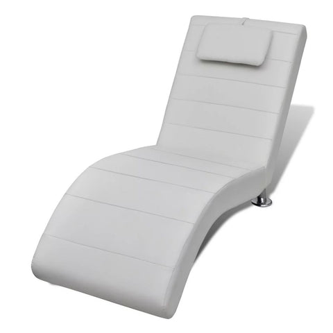 Chaise Lounge With Pillow Artificial Leather - White 240710