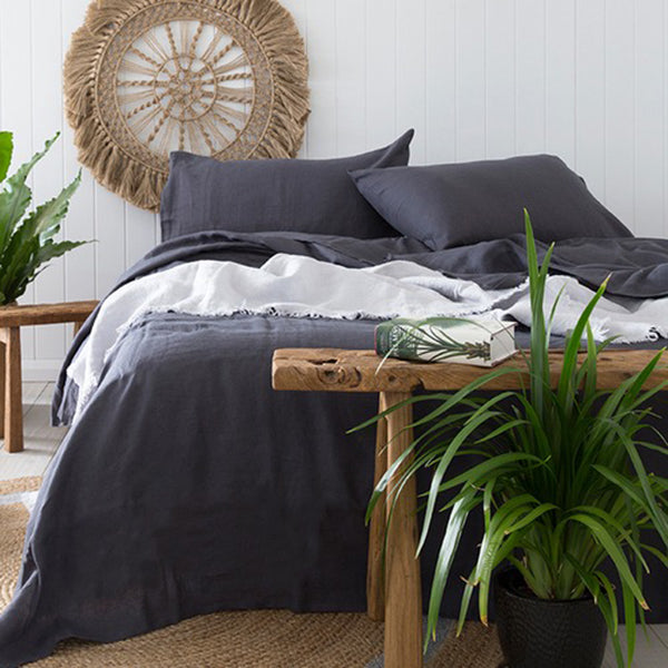 Bambury Charcoal Linen Sheet Set