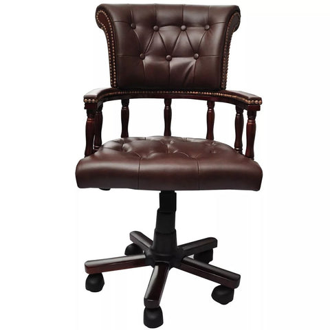 Chesterfield Captains Swivel Office Chair - Brown