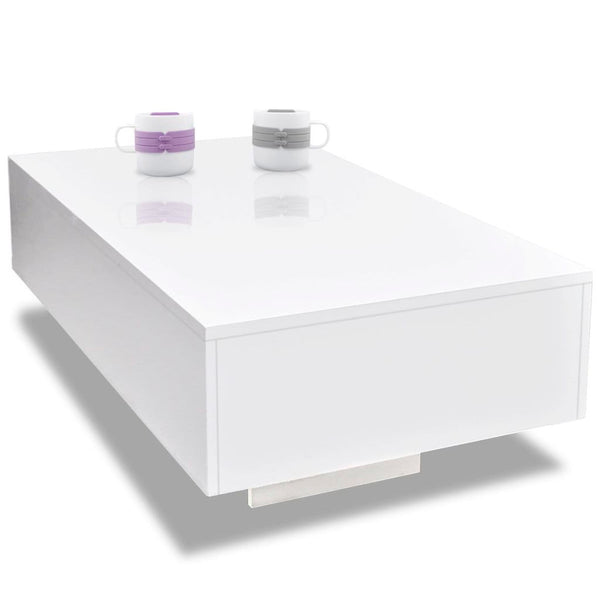 Coffee Table High Gloss  85 x 55 x 31 Cm - White