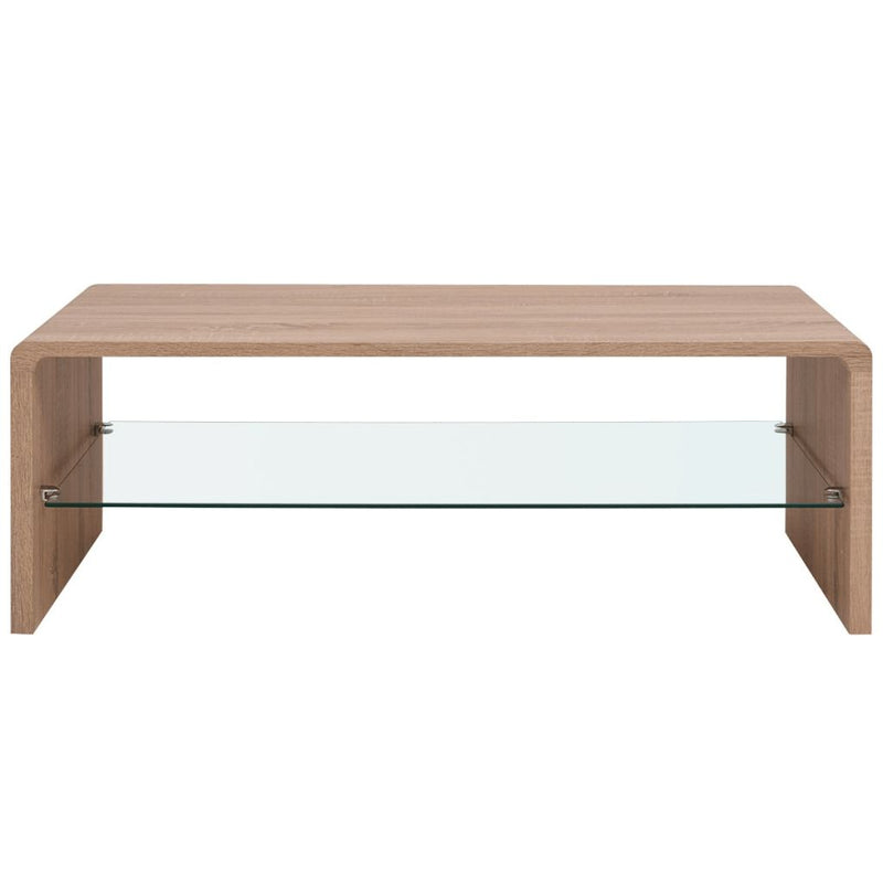 Coffee Table With Glass - Brown