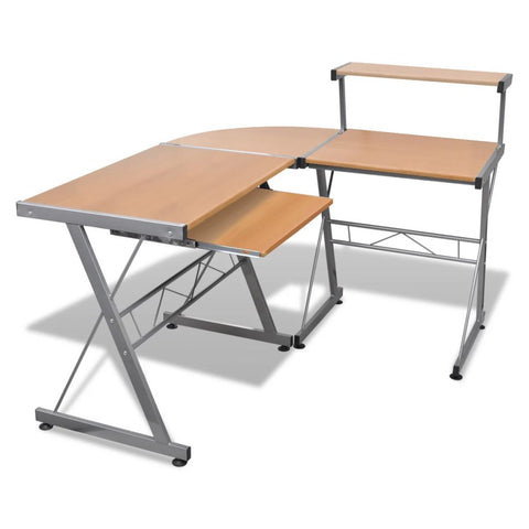 Computer Desk Workstation With Pull Out Keyboard Tray - Brown