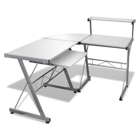Computer Desk Workstation With Pull Out Keyboard Tray - White