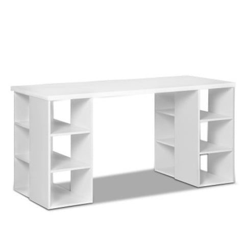 Computer Desk with 3 tier Storage Shelves - White