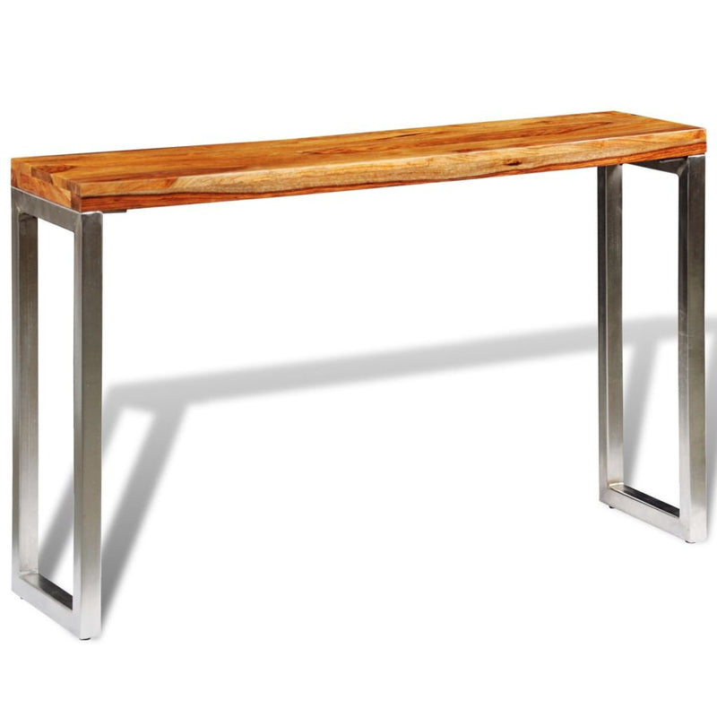 Console Table With Steel Leg Solid Sheesham Wood