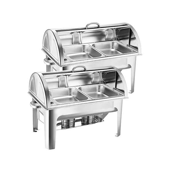 Soga 2X Stainless Steel Roll Top Chafing Dish Dual Trays Food Warmer