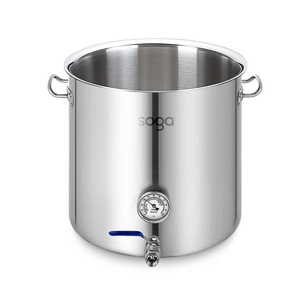 Soga Stainless Steel 71L No Lid Brewery Pot With Beer Valve 45X45Cm