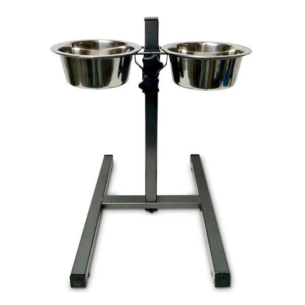 Double Raised Dog Bowl Stand 750Ml Pet Cat Elevated Adjustable Food
