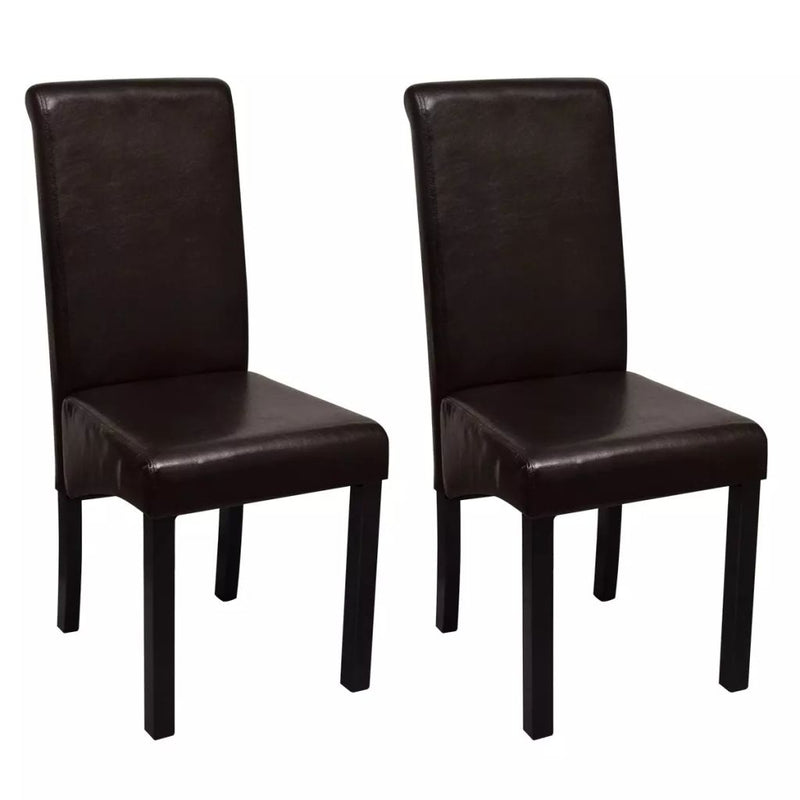 Dining Chairs Artificial Leather With Wooden Legs (2 Pcs) - Brown