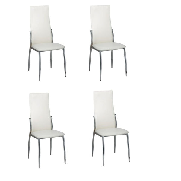Dining Chairs (Set of 4) - White Leather & Chrome