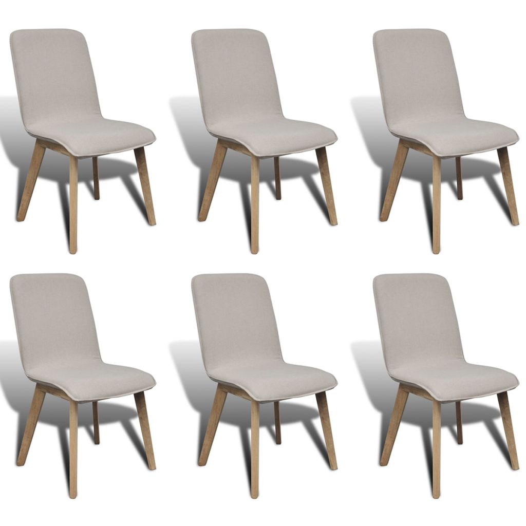 Dining Chairs With Oak Frame Fabric (6 Pcs)