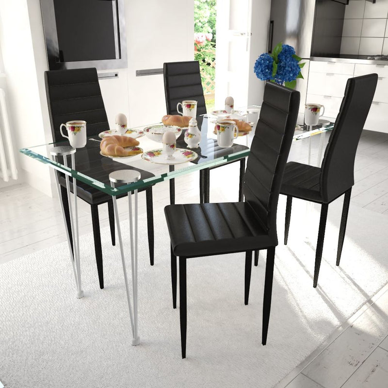 Dining Chairs With Slim Line (4 Pcs) - Black