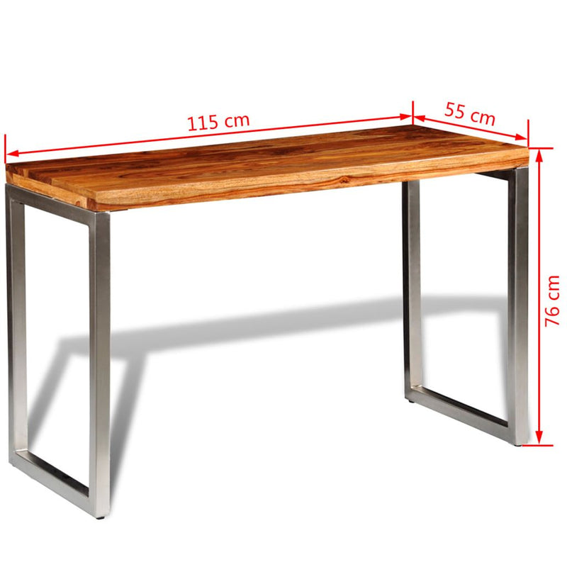 Dining Table Office Desk With Steel Leg Solid Sheesham Wood