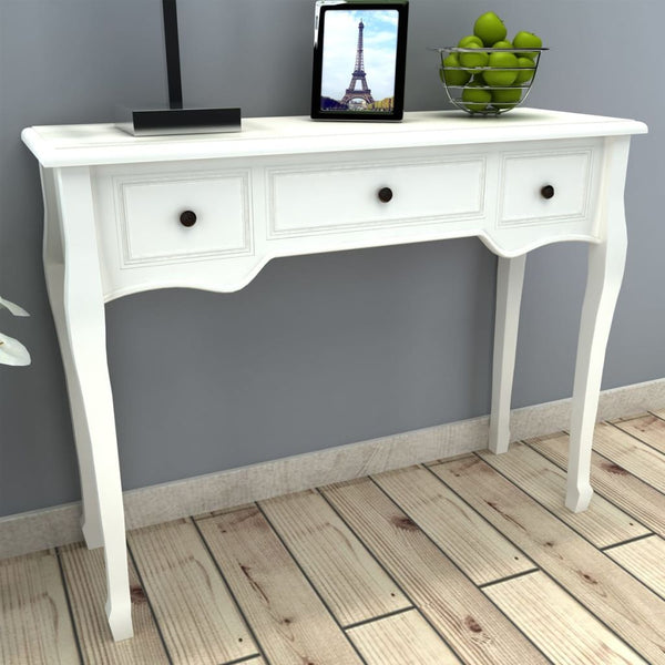 Dressing Console Table with Three Drawers - White